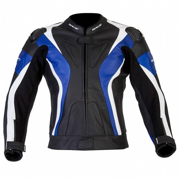 Spada Curve Leather Jacket - Black/Blue/White