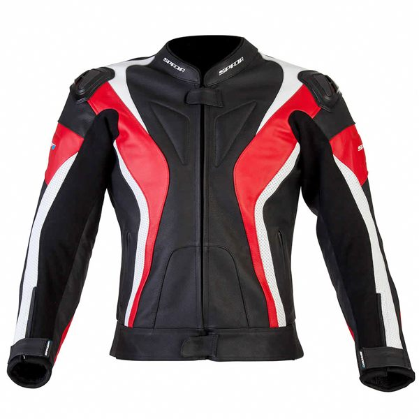 Spada Curve Leather Jacket - Black/Red/White