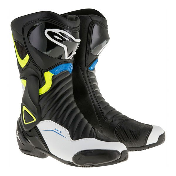 Alpinestars SMX-6 V2 Boots -Black/White/Fluo Yellow/Blue