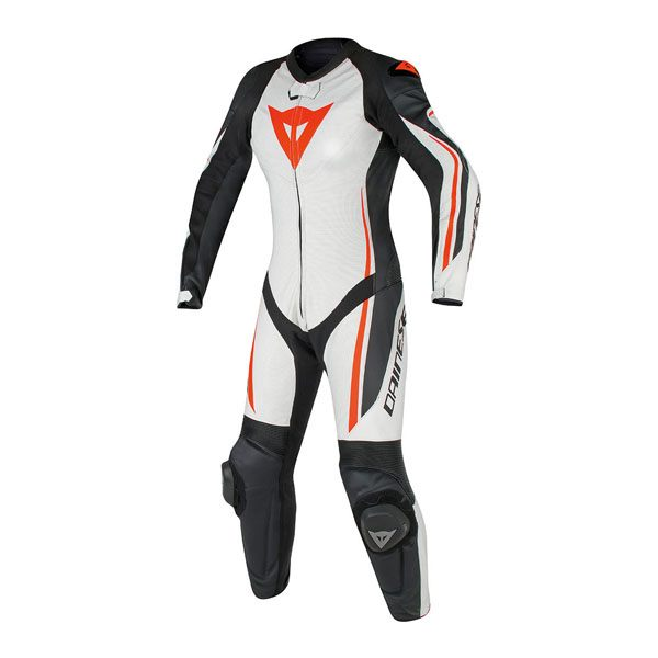 Dainese Assen Perforated Ladies 1 Piece Suit - White/Black/Fluorescent Red