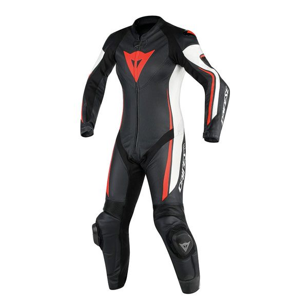 Dainese Assen Perforated Ladies 1 Piece Suit - Black/White/Fluorescent Red