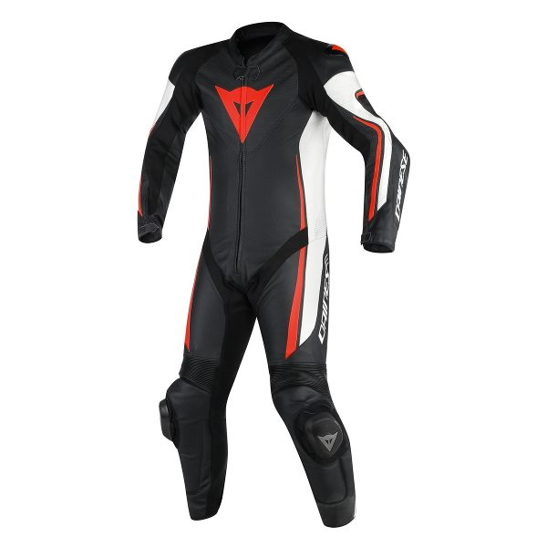 Dainese Assen Perforated 1 Piece Suit - Black/White/Fluorescent Red