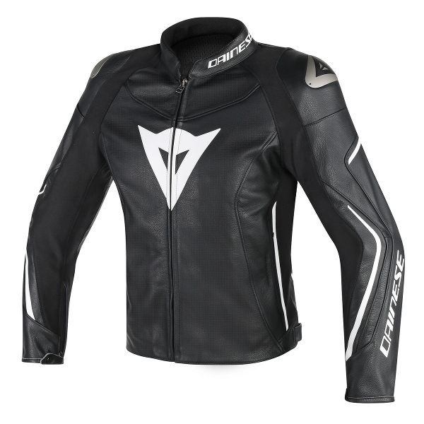 Dainese Assen Perforated Leather Jacket - Black/White