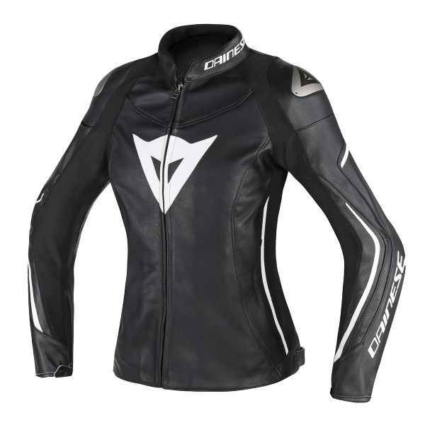 Dainese Assen Ladies Leather Jacket - Black/White