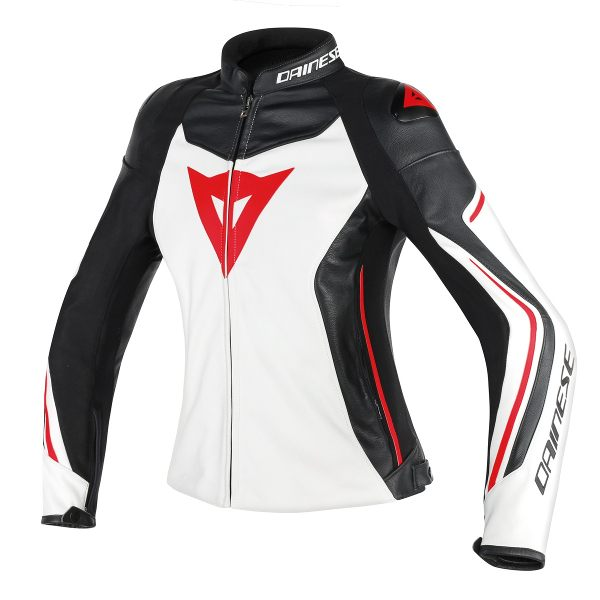 Dainese Assen Ladies Leather Jacket - White/Black/Lava Red