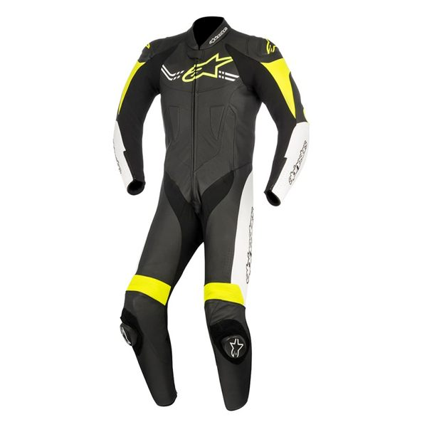 Alpinestars Challenger V2 1 Piece Leather Suit - Black/White/Yellow Fluo