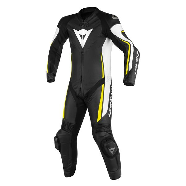 Dainese Assen Perforated 1 Piece Suit - Black/White/Fluorescent Yellow