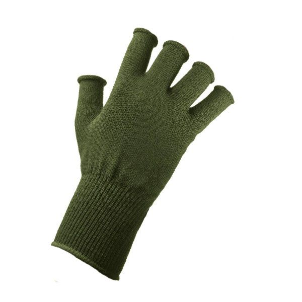 EDZ Merino Wool Fingerless Thermal Gloves - Olive