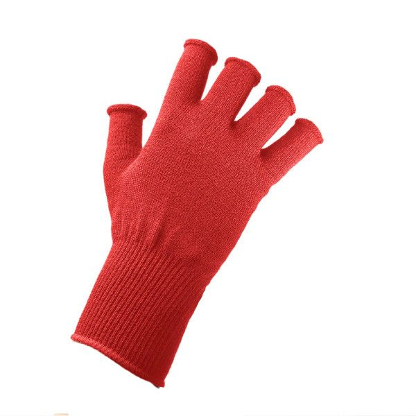 EDZ Merino Wool Fingerless Thermal Gloves - Red