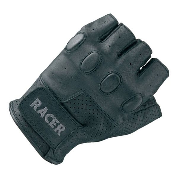 Racer Bubble Fingerless Gloves - Black