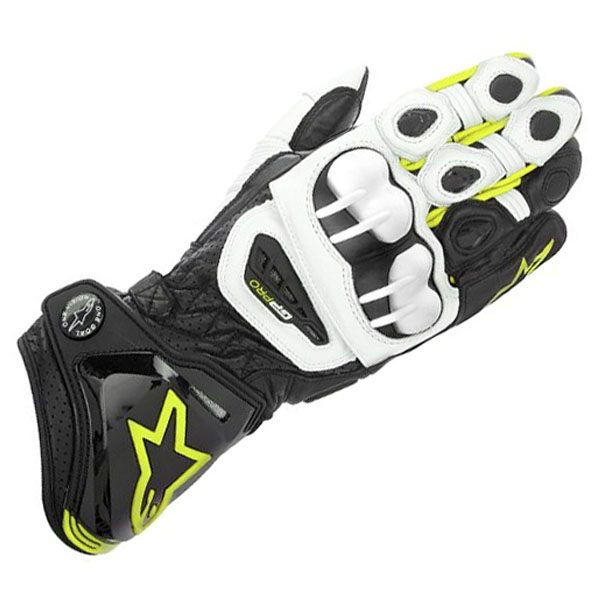 Alpinestars GP Pro 113 Leather Gloves - Black/White/Fluorescent Yellow