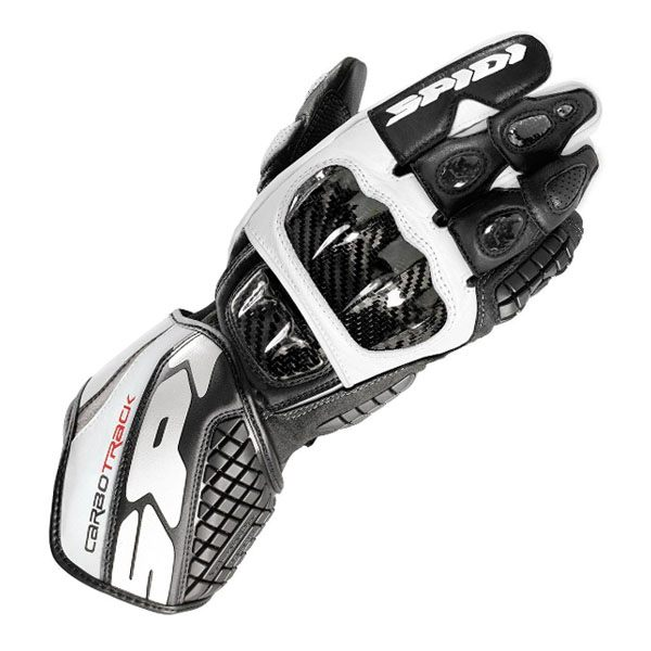 Spidi Carbo Track Leather Gloves - Black/White