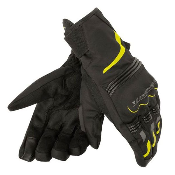 Dainese Tempest D-Dry Short Gloves - Black/Fluorescent Yellow